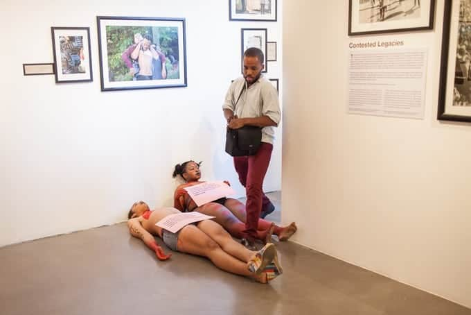 "Members of the UCT Trans Collective blocked entrances to the exhibition of ""Echoing Voices from Within"". The exhibition was eventually shut down. Photo: Ashraf Hendricks"
