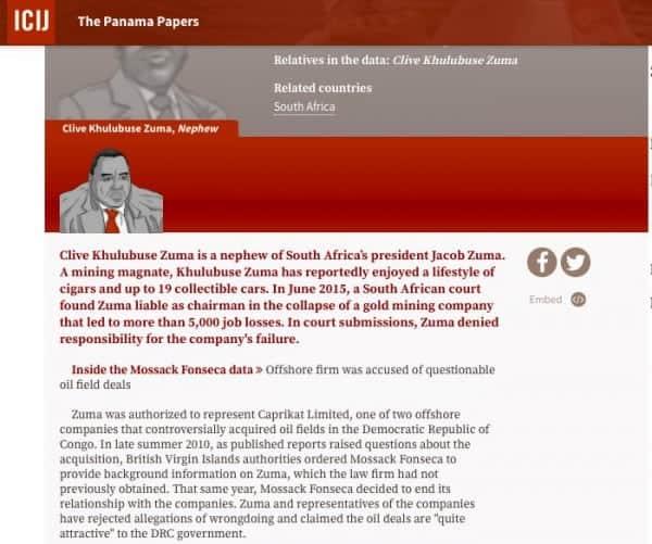 Khulubuse Zuma Panama Papers