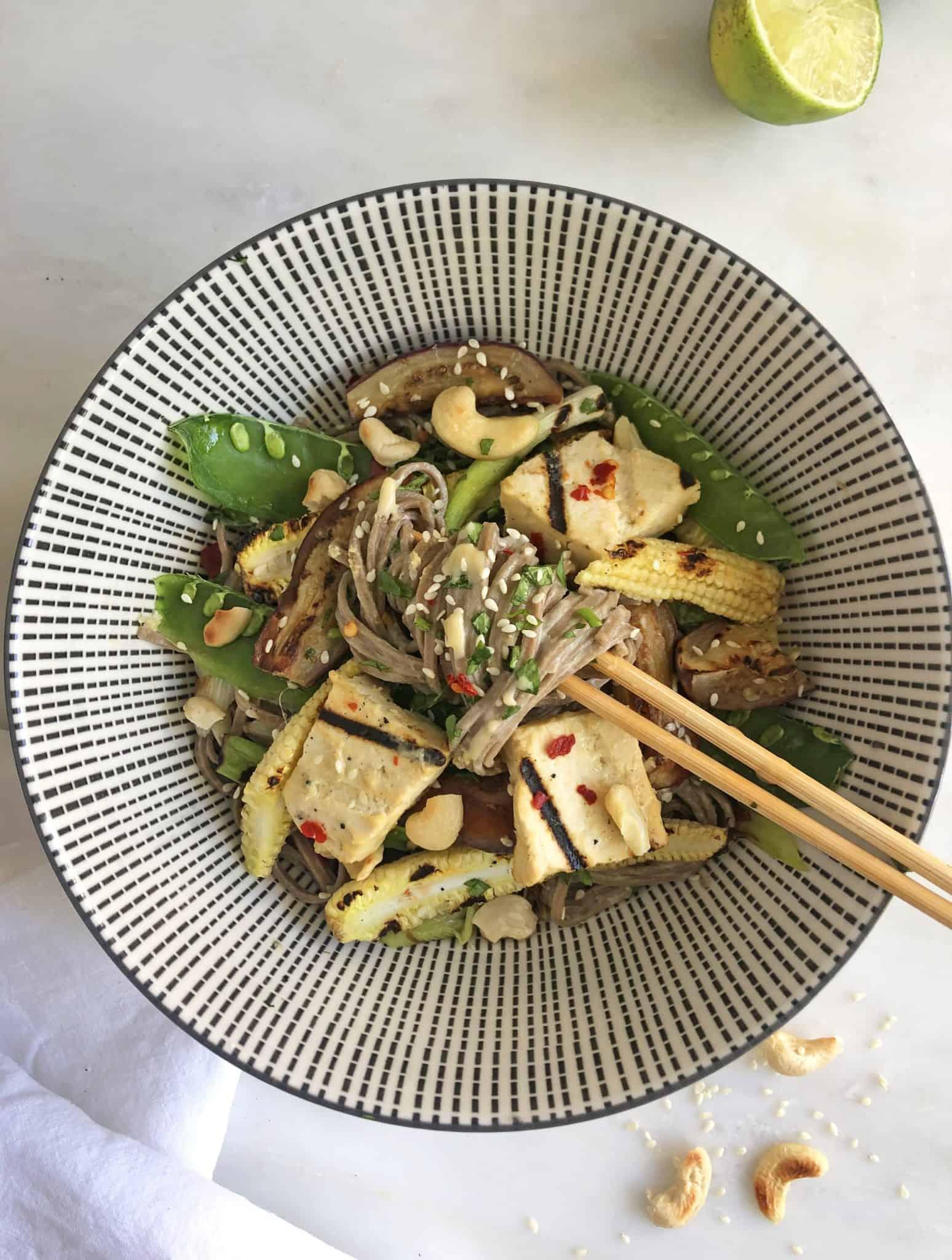 Soba Noodle Salad with Miso Sesame Tofu