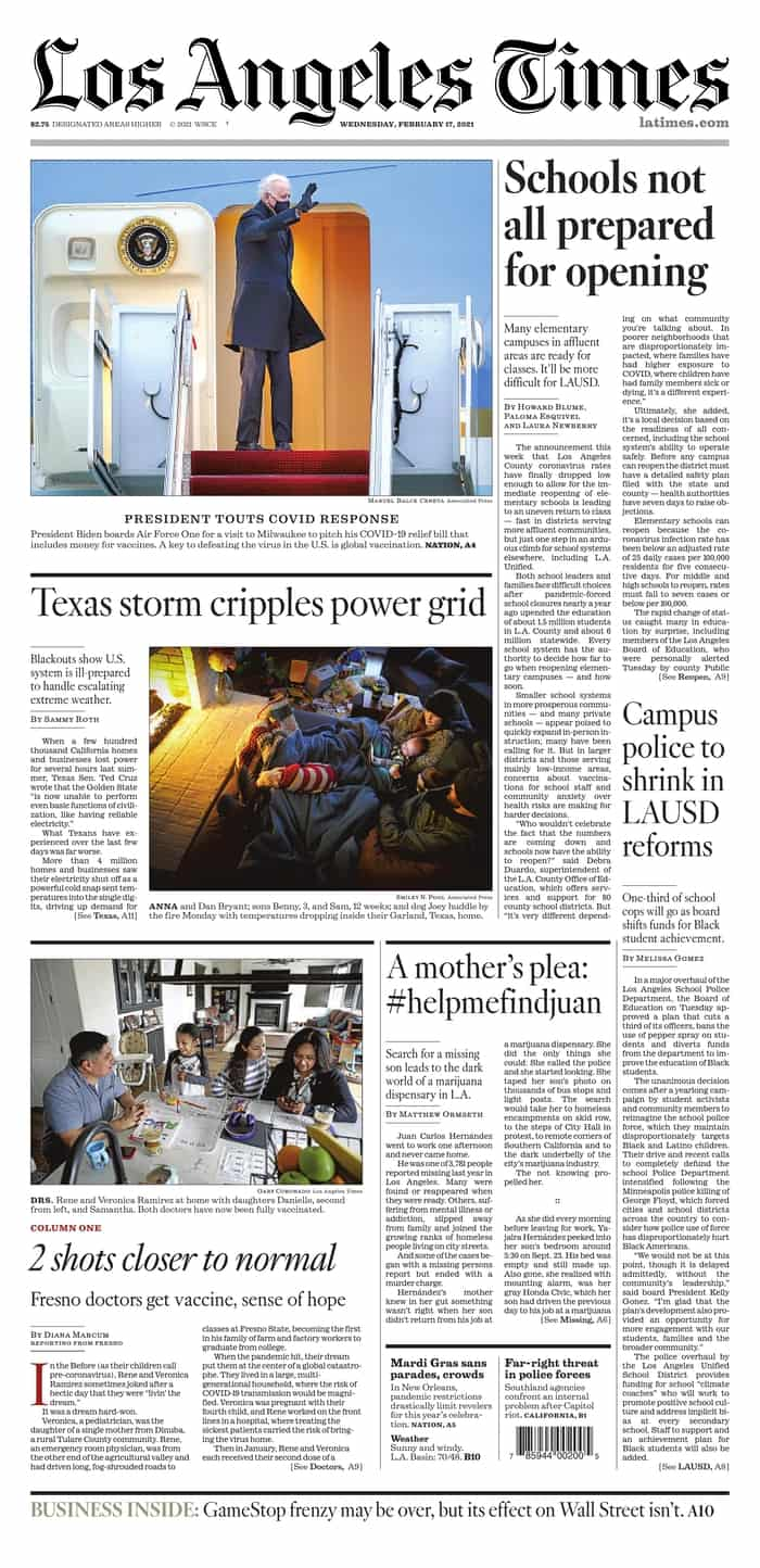 4 LA TIMES - Newspaper front pages from around the world, Wednesday 17 February 2021